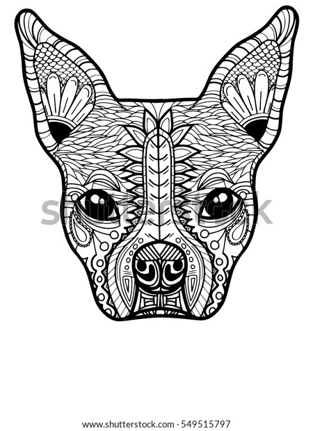 Boston Terrier French Bulldog Adult Coloring Stock Vector
