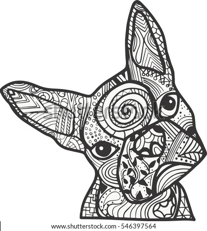 boston terrier coloring pages Boston Terrier French Bulldog Doodle Coloring Stock Vector  boston terrier coloring pages