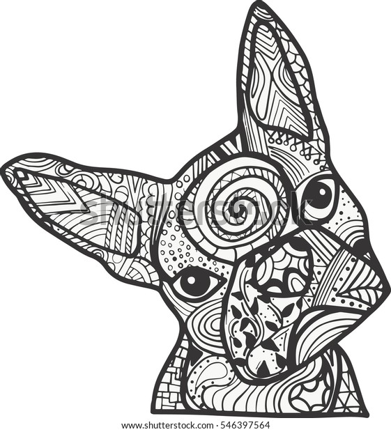 Boston Terrier French Bulldog Doodle Coloring Stock ...