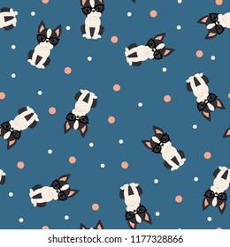 Boston terrier seamless vector pattern/wallpaper.
