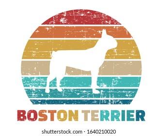 Boston Terrier silhouette vintage and retro