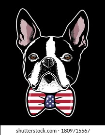 boston terrier vector head with bow-tie for T-shirt print