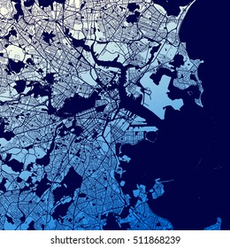 Boston Two-Tone Map Artprint, Vector Outline Version, ready for color change