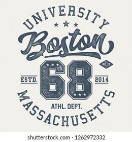 Boston University Massachusetts - Aged Tee Design For Print