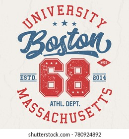 Boston University Massachusetts - Tee Design For Print