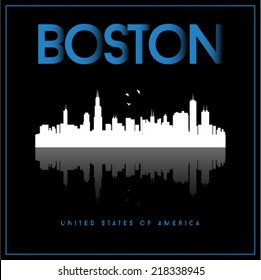 Boston, USA skyline silhouette vector design on black background.