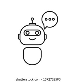 Bot icon. Chatbot icon. Cute smiling robot with speech bubbles. Voice support service bot. Virtual online support symbol. Customer service robot. Chatbot icon for perfect mobile and web design.