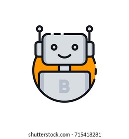 Bot icon. Chatbot icon. Cute smiling robot. Outline robot sign in orange circle. Vector flat line cartoon illustration isolated on white background. Voice support service bot. Virtual online support