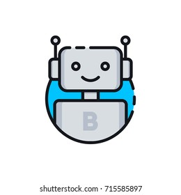 Bot icon. Chatbot icon. Cute smiling robot. Outline robot sign in blue circle. Vector flat line cartoon illustration isolated on white background. Voice support service bot. Virtual online support