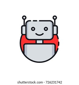 Bot icon. Chatbot icon. Cute smiling robot. Outline robot sign in red circle. Vector flat line cartoon illustration isolated on white background. Voice support service bot. Virtual online support