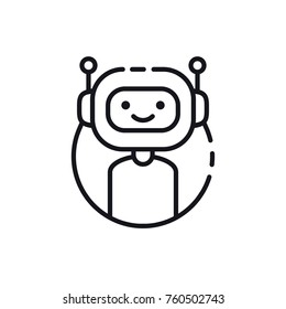 Bot icon. Chatbot. Cute smiling robot. Vector modern line character illustration isolated on white background.