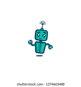 Bot icon. Chatbot icon. Vector flat line cartoon illustration isolated on white background. Voice support service bot. Virtual online support