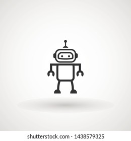 Bot icon. Cute smiling robot. Vector modern line character illustration isolated on white background. Outline robot sign design. Virtual online support. Artificial Intelligence AI