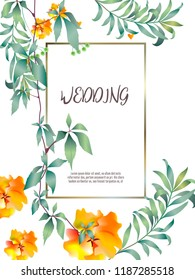 Botanic card with monstera leaf, flowers. Spring ornament concept. Floral poster, invite. Vector layout decorative greeting card or invitation design background. Hand drawn illustration