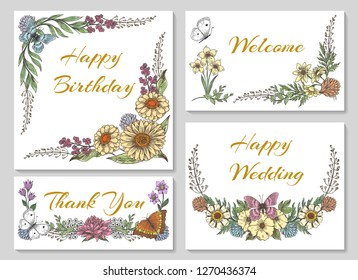 Botanic card with wild flowers, leaves. Collection ornaments for wedding, business invitation with spring floral, mariposa butterfly, vetor illustration