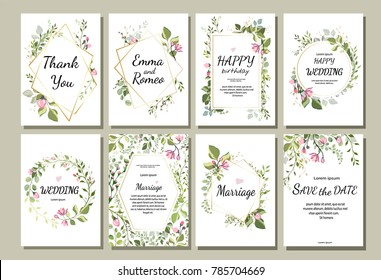 botanic card with wild flowers, leaves. Spring ornament concept. Floral poster, invite. Vector layout decorative greeting card or invitation design background. Hand drawn illustration