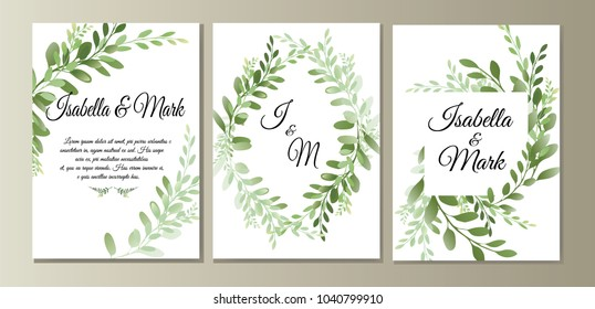 botanic card with wild leaves. Spring ornament concept. Vector layout decorative greeting card or invitation design background. Hand drawn illustration