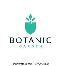 Botanic shovel logo design concept. Universal shovel logo.