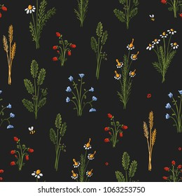 Botanica dark - seamless stylized colored pattern texture element of plants, flowers and insects