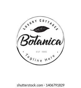 botanica logo with the concept of nature, leaves, classics with a circular touch