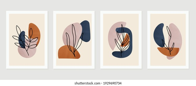 Botanical abstract art backgrounds vector. Summer square banner.  Foliage line art drawing with abstract shape. Works for wall framed prints, social media post, poster, home decor, cover, wallpaper.