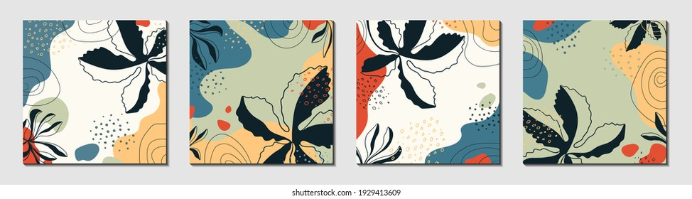 Botanical art. Abstract organic vector shapes, leaves, branch, plants. Set of natural template in doodle style for cover, poster, greeting card, background. Modern graphics for business, holiday