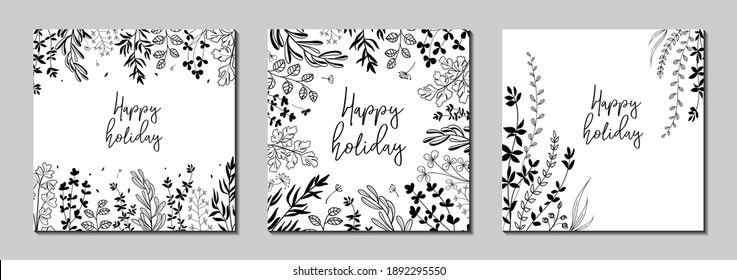 Botanical art. Floral vector templates with leaves, plants. Abstract natural elements. Vector plant print for holiday posters, greeting cards, backgrounds, covers, banners, invitations.