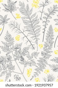 Botanical background with leaves and herbs. Vector print. Backgrounds for wrapping paper, textiles, wallpapers. Gray-yellow ornament. Sketch.