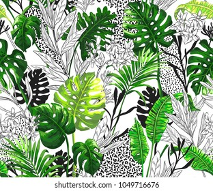 Botanical background with tropical palm leaves. Seamless vector pattern in trendy hawaiian style.