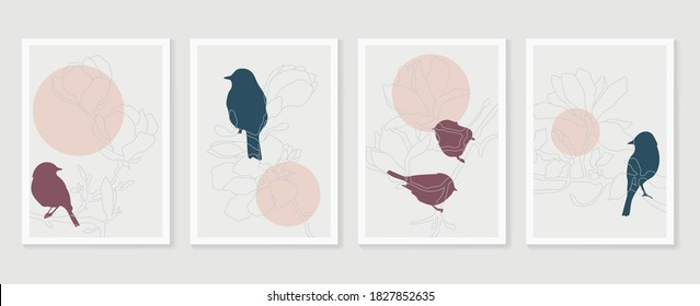 Botanical and birds wall art vector set. Earth tone boho foliage line art drawing with  abstract shape.  Abstract Plant Art design for print, cover, wallpaper, Minimal and  natural wall art.