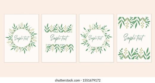 Botanical card set. Invitation mockup cards