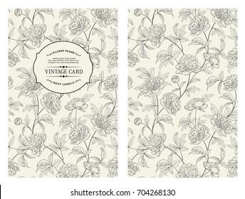 Botanical cover design with floral elements. Vintage card design with peony flower pattern. Decorative frame or border for wedding card. Vector illustration.