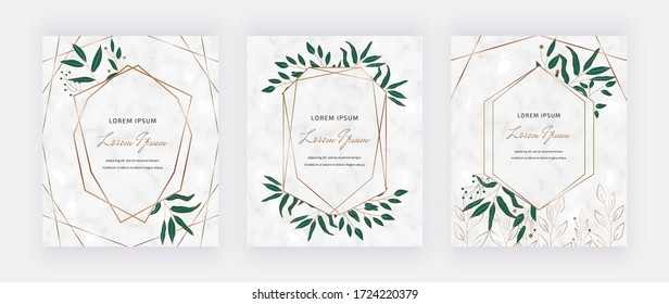 Botanical design cards with geometric marble frames green leaves. Trendy templates for wedding invitation, greeting, banner, flyer, poster, save the date