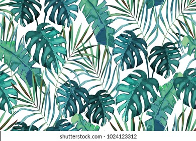 Botanical exotic seamless pattern, green tropical leaves, summer vector  illustration on white background. Watercolor style