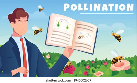 Botanical flat horizontal composition with male character demonstrated manual for study of flowers pollination by bees cartoon vector illustration