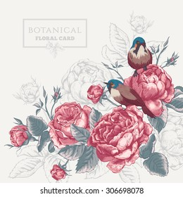 Botanical floral card in vintage style with blooming english roses and birds, flowers vector illustration on gray background, bird flower vector card