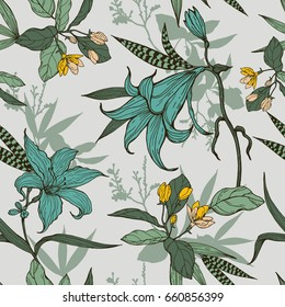 Botanical flowers with leaves pattern on a gray background.