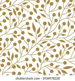 Botanical folksy seamless vector pattern. Simple minimalistic leafy berry plant folk art ornament. One colour neutral decorative organic floral surface print design.