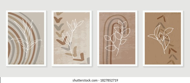 Botanical and golden line wall art vector set. Earth tone boho foliage line art drawing with  abstract shape.  Abstract Plant Art design for print, cover, wallpaper, Natural wall art.