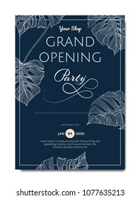 Botanical grand opening invitation card template design, line art ink drawing split-leaf Philodendron plant on dark blue background, vintage style