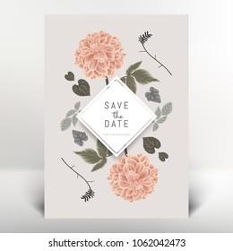 Botanical greeting/invitation card template design, orange dahlia flowers and leaves, vintage style