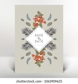 Botanical greeting/invitation card template design, orange Bougainvillea flowers and leaves, vintage style