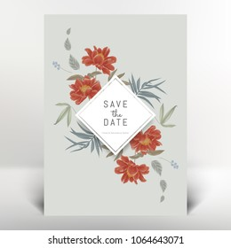 Botanical greeting/invitation card template design, red paenia lactiflora flowers and leaves, vintage style