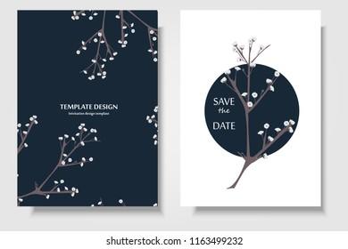 Botanical greeting/invitation card template design, gypsophila flowers with  bubble frame on white background. Wedding card