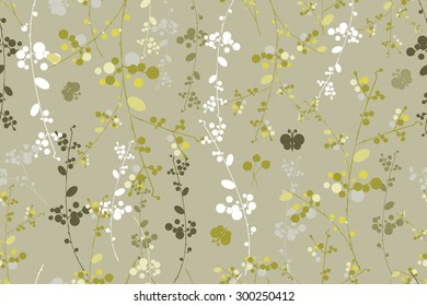 Botanical grey mustard garland on vector seamless pattern