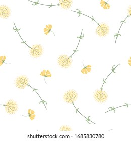 Botanical hand drawing seamless pattern. Branches with flowers and leaves scattered random. Trendy abstract vector texture. Fashion print, fabric, design. Hand drawn dandelion on white background
