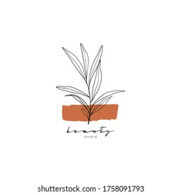 Botanical hand drawn minimal logo. Graphic tree branch in vector. Minimalistic branch with leaves template for your logo. beauty salon, wedding, spa or yoga studio, organic cosmetics logo, badges