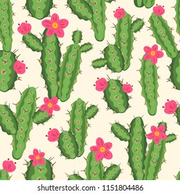 botanical illustration with Peruvian cactus. Vector seamless pattern on white background. Summer plants.