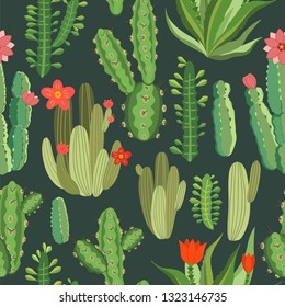 botanical illustration with Peruvian cactus. Vector seamless pattern on green background. Summer plants.
