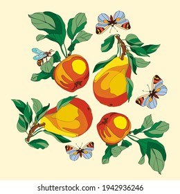 botanical illustration of vector elements plants apple and pear with insects butterflies and wasps